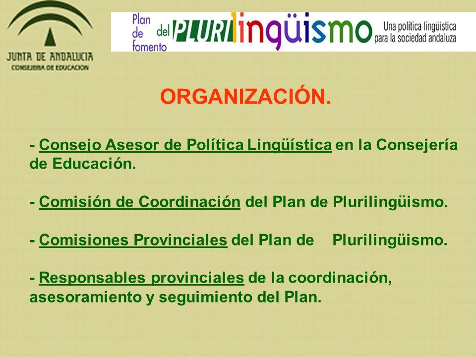 ORGANIZACIÓN. - Consejo Asesor de Política Lingüística en la Consejería de Educación. - Comisión de Coordinación del Plan de Plurilingüismo.