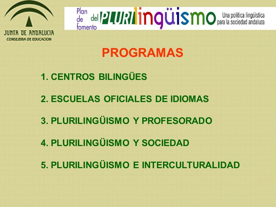 PROGRAMAS 1. CENTROS BILINGÜES 2. ESCUELAS OFICIALES DE IDIOMAS