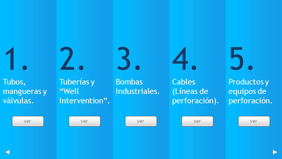 1. Tubos, mangueras y válvulas. 2. Tuberías y Well Intervention .