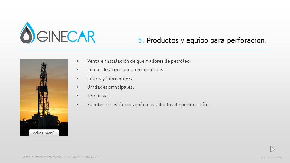 5. Productos y equipo para perforación.