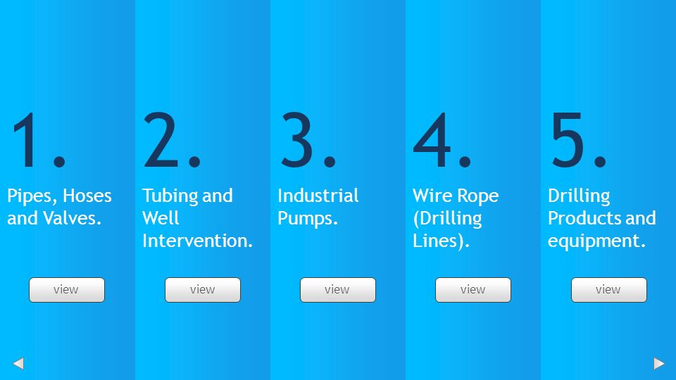 2. Tubing and Well Intervention. 3. Industrial Pumps. 4. 5.