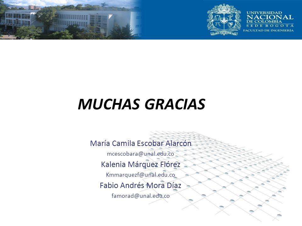 MUCHAS GRACIAS María Camila Escobar Alarcón Kalenia Márquez Flórez