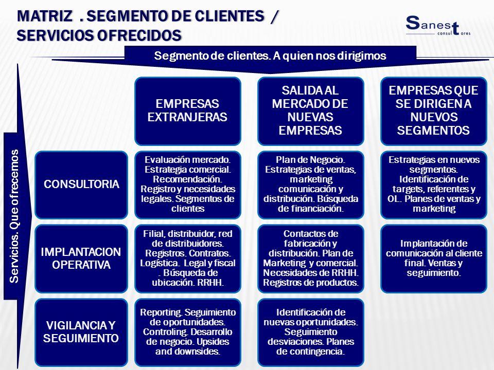 Matriz . segmento de CLIENTES / servicios ofrecidos