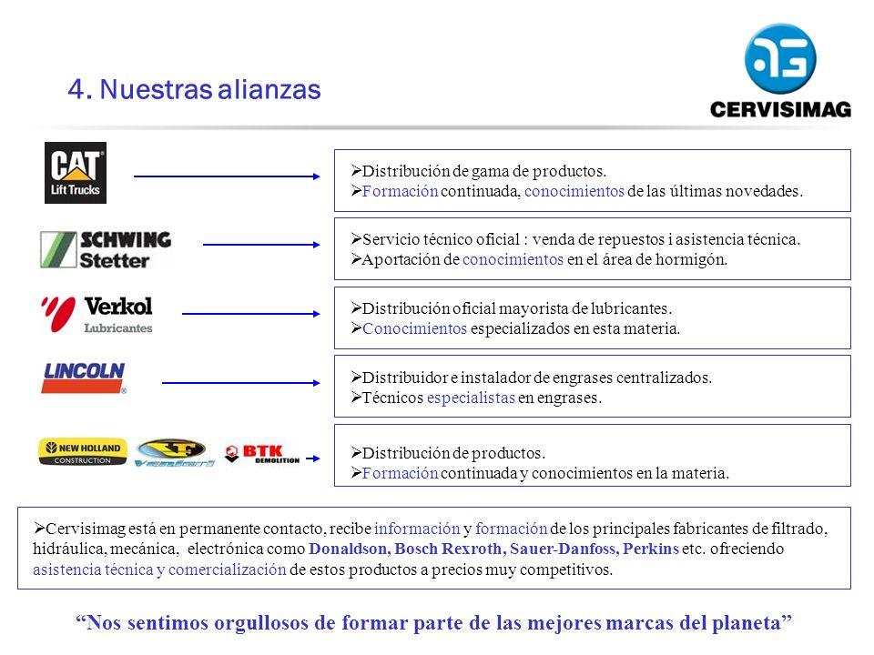 4. Nuestras alianzas Distribución de gama de productos. Formación continuada, conocimientos de las últimas novedades.