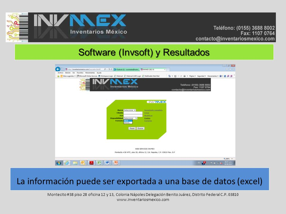 Software (Invsoft) y Resultados