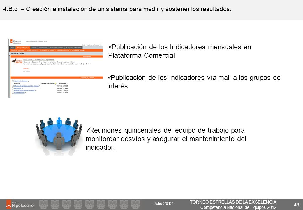 Publicación de los Indicadores mensuales en Plataforma Comercial