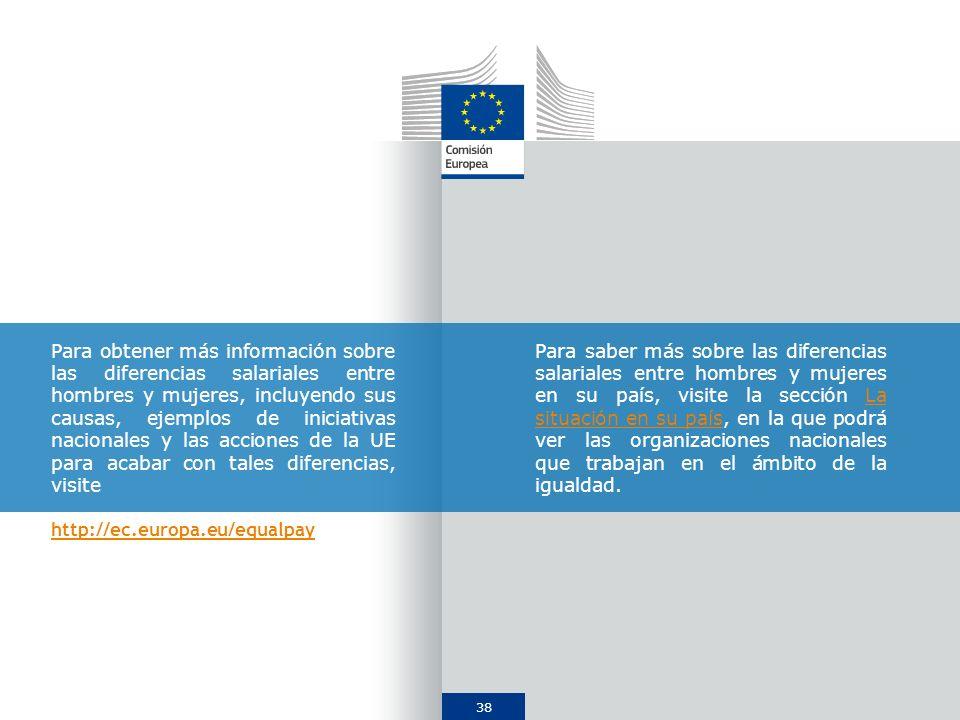 Para obtener más información sobre las diferencias salariales entre hombres y mujeres, incluyendo sus causas, ejemplos de iniciativas nacionales y las acciones de la UE para acabar con tales diferencias, visite