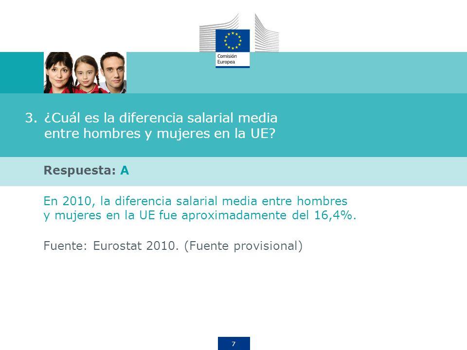 ¿Cuál es la diferencia salarial media entre hombres y mujeres en la UE