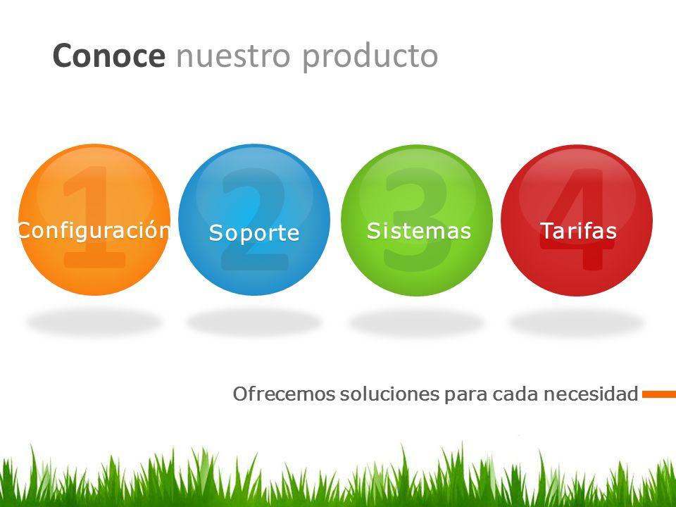 1 2 3 4 Conoce nuestro producto Configuración Soporte Sistemas Tarifas