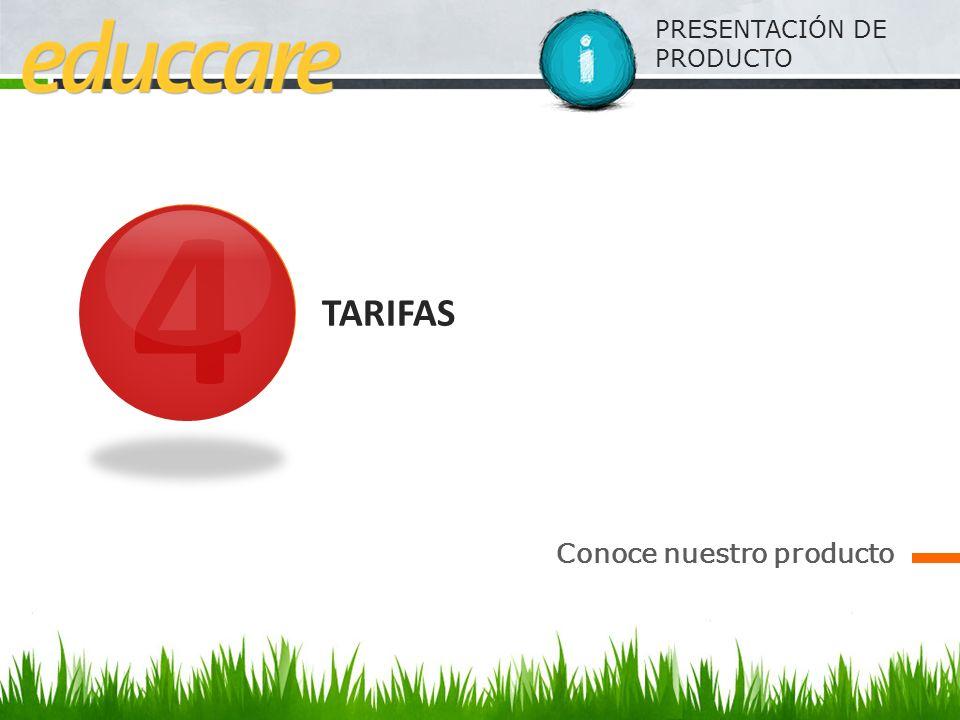 4 TARIFAS Conoce nuestro producto