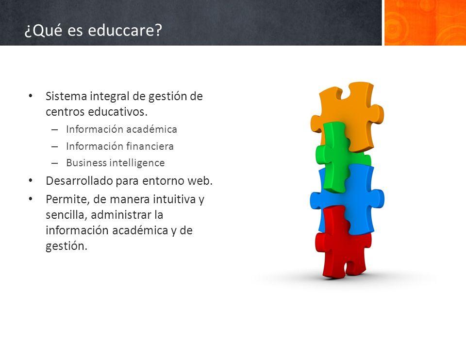 ¿Qué es educcare Sistema integral de gestión de centros educativos.