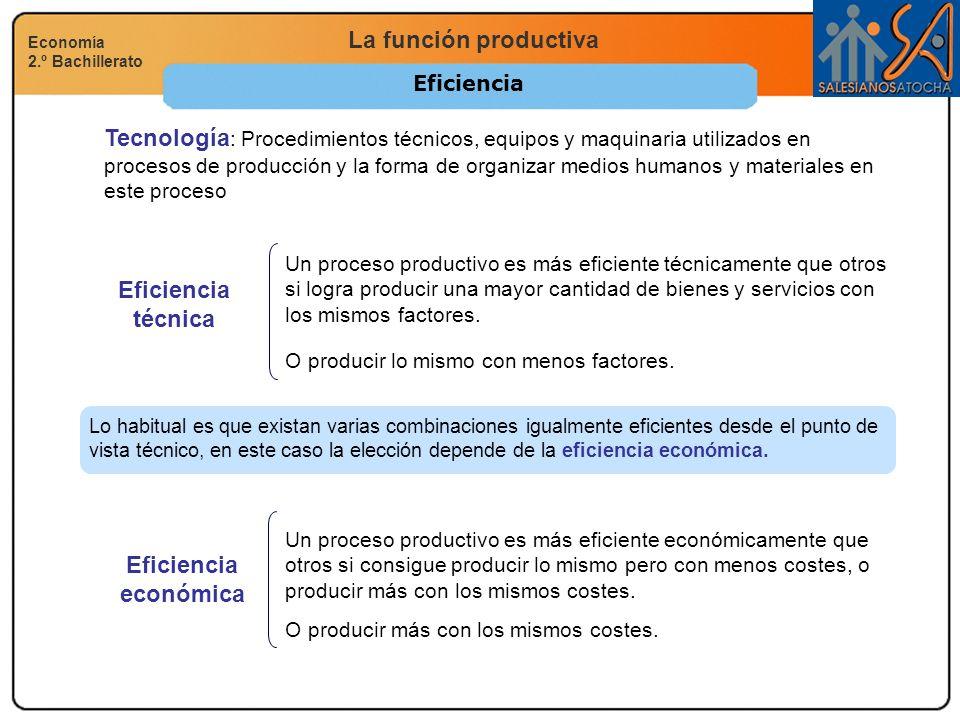 Eficiencia técnica Eficiencia económica