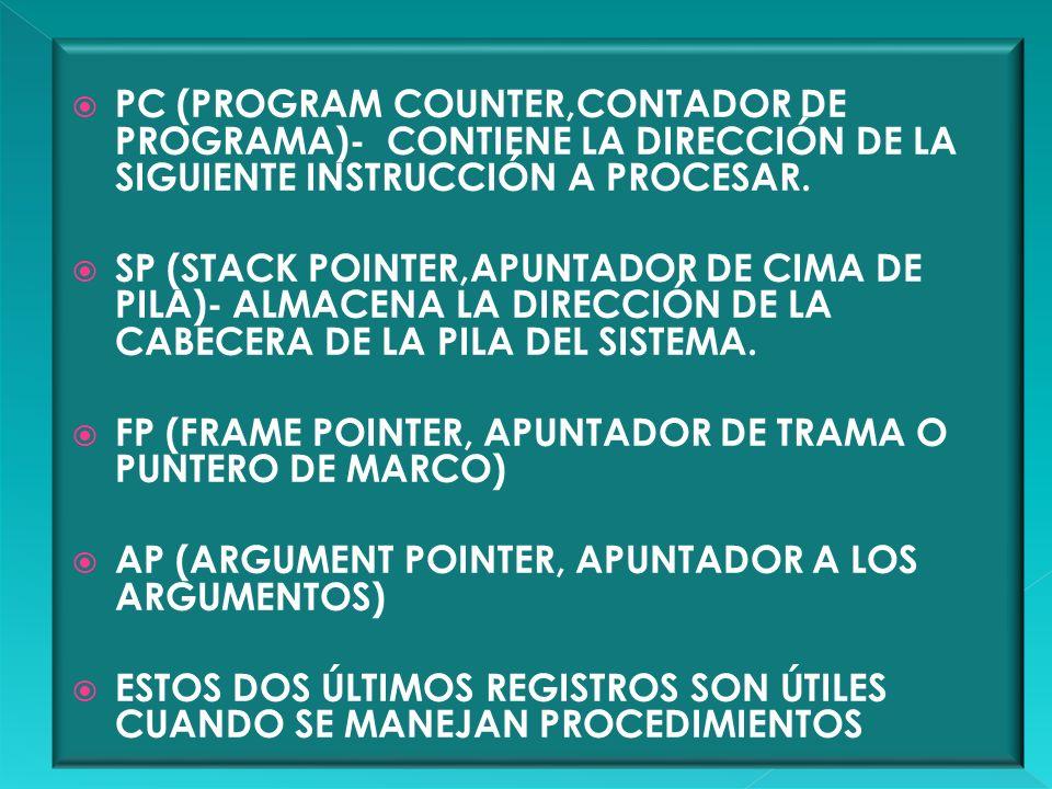 PC (PROGRAM COUNTER,CONTADOR DE PROGRAMA)- CONTIENE LA DIRECCIÓN DE LA SIGUIENTE INSTRUCCIÓN A PROCESAR.