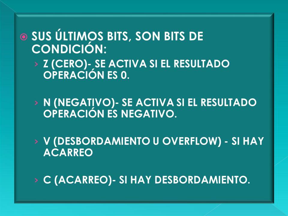 SUS ÚLTIMOS BITS, SON BITS DE CONDICIÓN:
