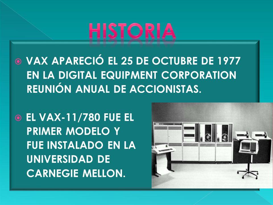 HISTORIA VAX APARECIÓ EL 25 DE OCTUBRE DE 1977