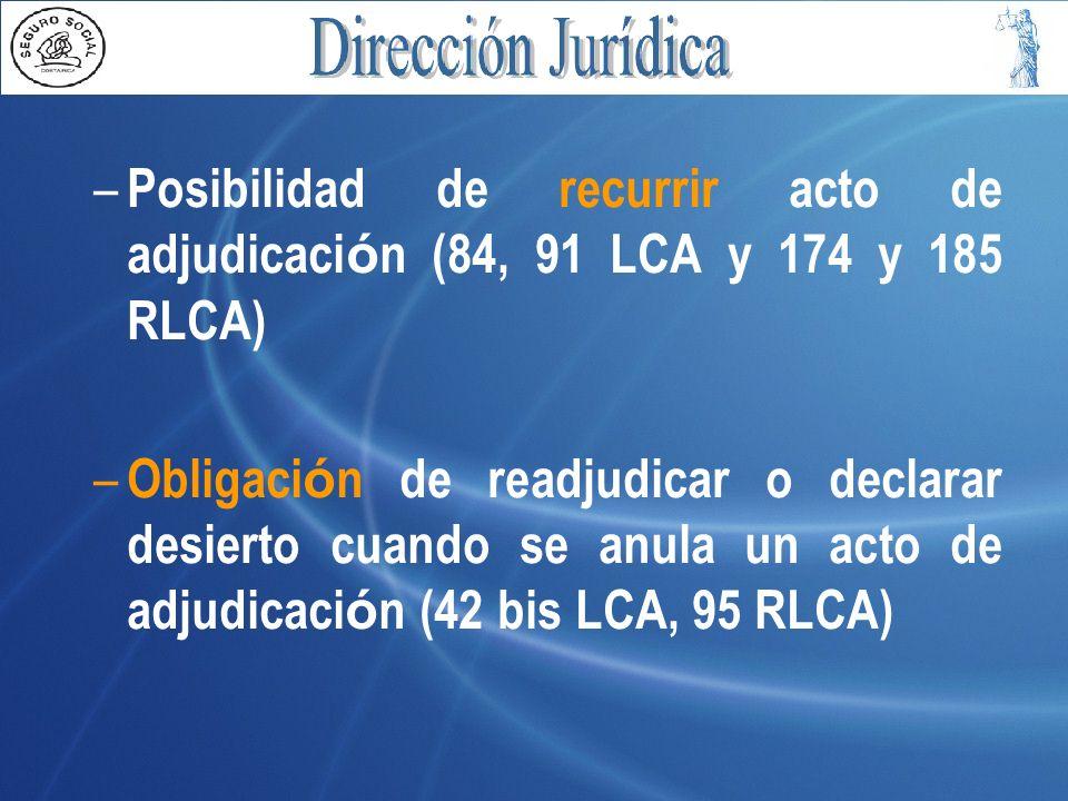 Posibilidad de recurrir acto de adjudicación (84, 91 LCA y 174 y 185 RLCA)