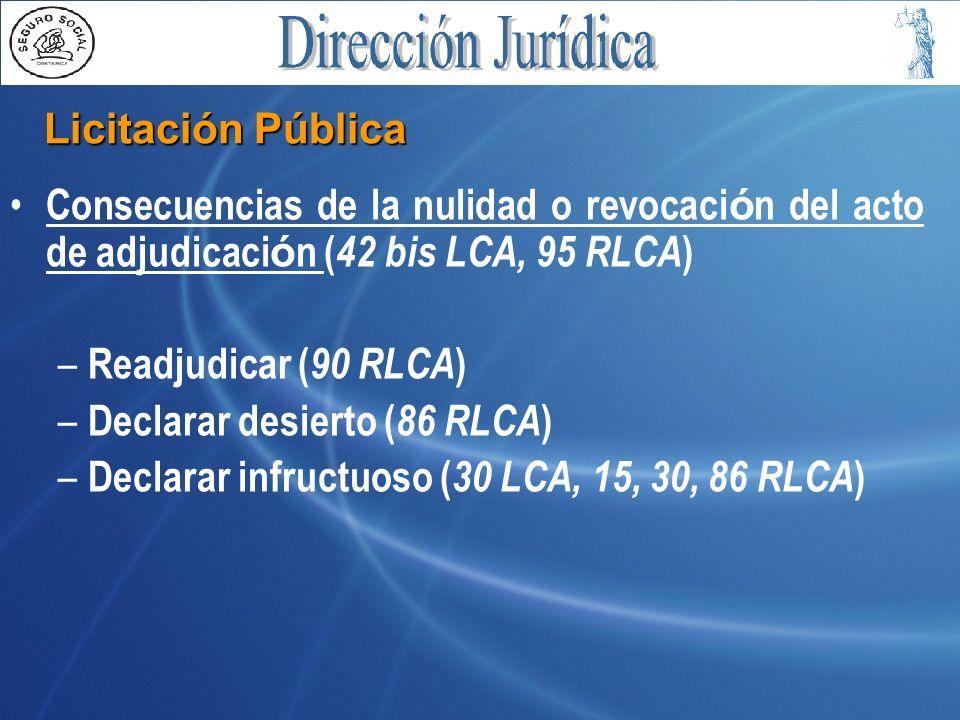 Licitación Pública Consecuencias de la nulidad o revocación del acto de adjudicación (42 bis LCA, 95 RLCA)