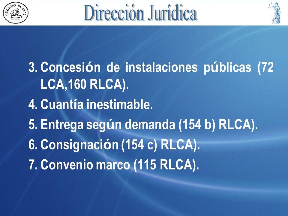 Concesión de instalaciones públicas (72 LCA,160 RLCA).