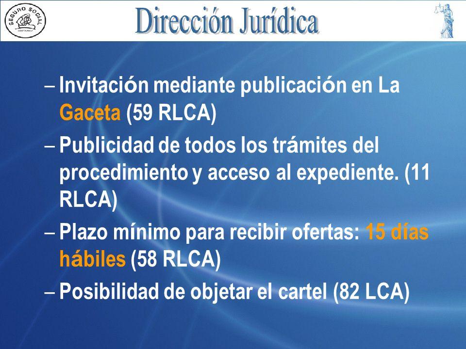 Invitación mediante publicación en La Gaceta (59 RLCA)