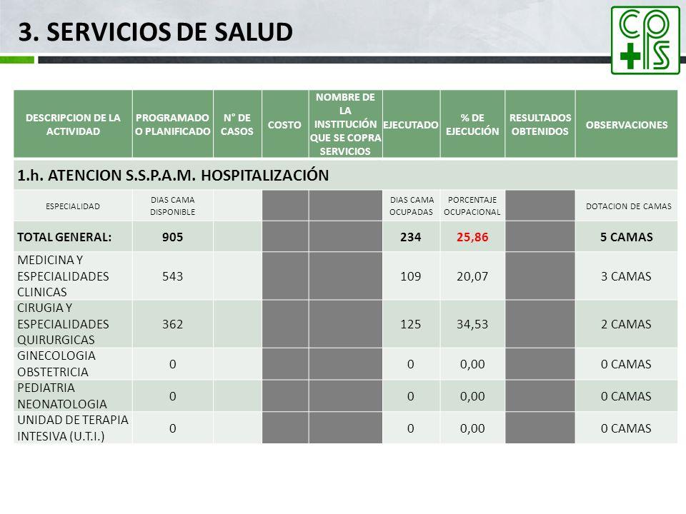 3. SERVICIOS DE SALUD 1.h. ATENCION S.S.P.A.M. HOSPITALIZACIÓN