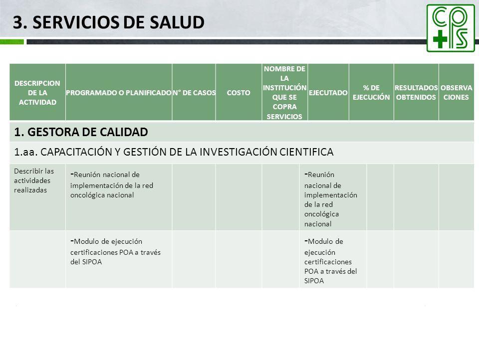 3. SERVICIOS DE SALUD 1. GESTORA DE CALIDAD