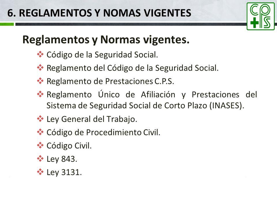 6. REGLAMENTOS y nomas VIGENTES