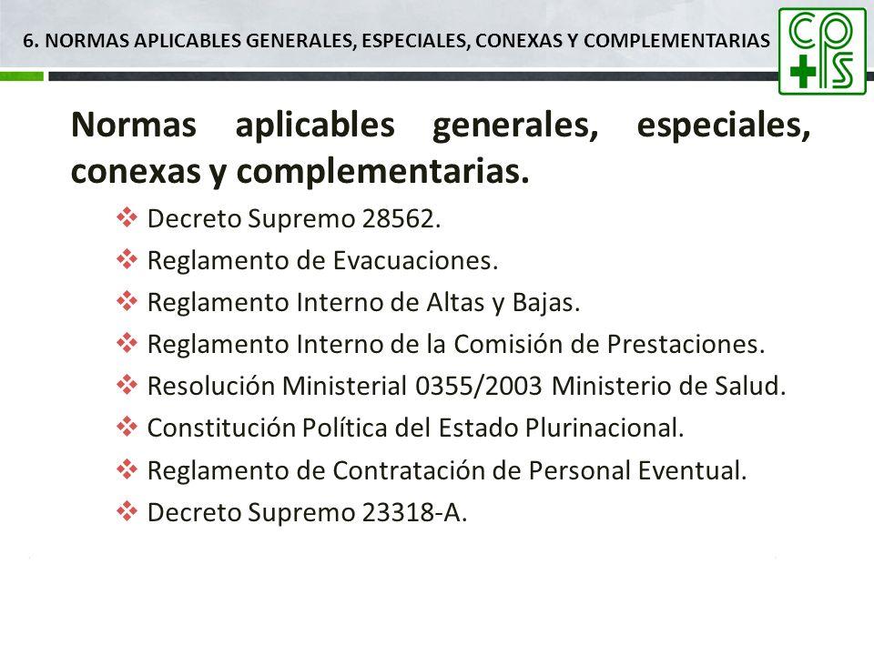6. NORMAS APLICABLES Generales, ESPECIALES, CONEXAS Y COMPLEMENTARIAS