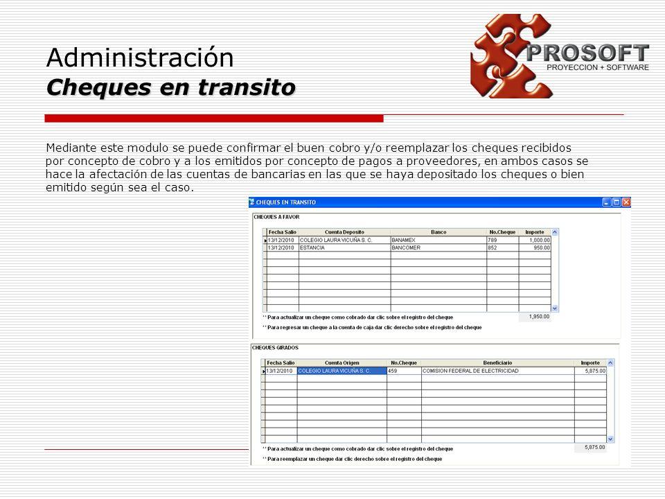 Administración Cheques en transito
