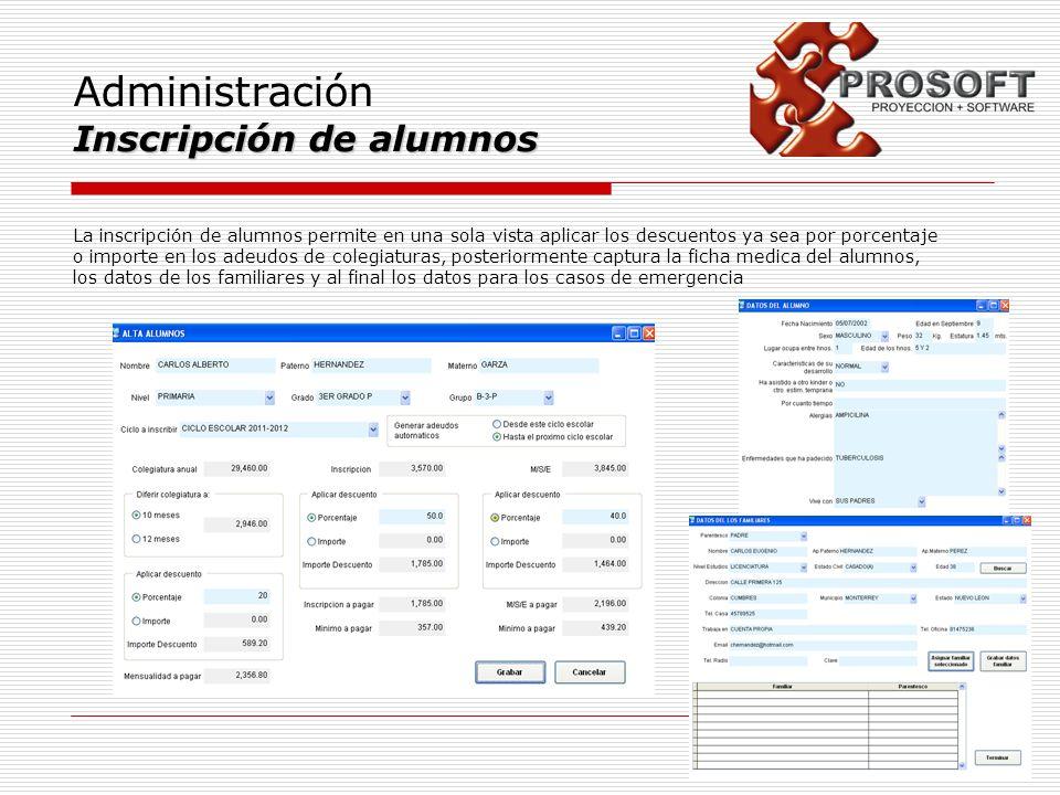 Administración Inscripción de alumnos