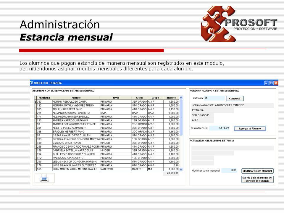 Administración Estancia mensual