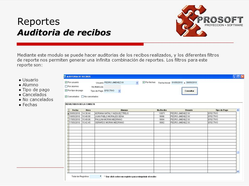 Reportes Auditoria de recibos