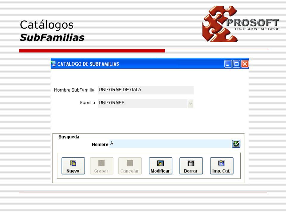 Catálogos SubFamilias