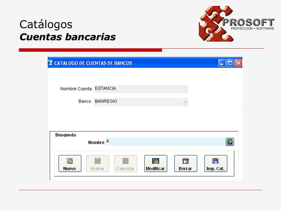 Catálogos Cuentas bancarias