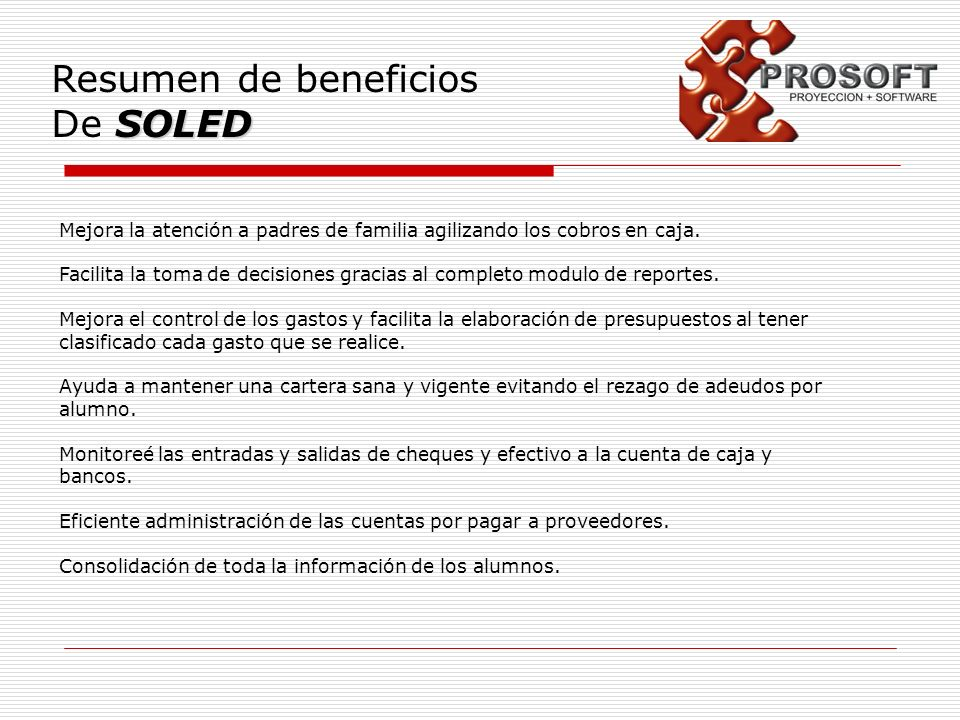 Resumen de beneficios De SOLED