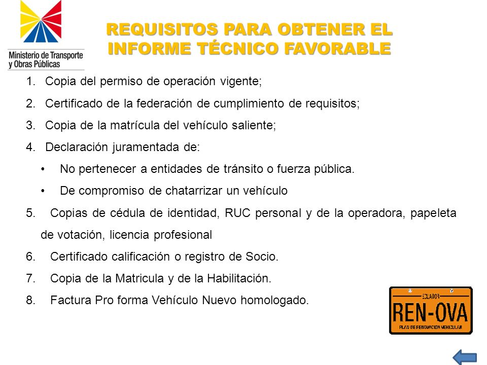 REQUISITOS PARA OBTENER EL INFORME TÉCNICO FAVORABLE