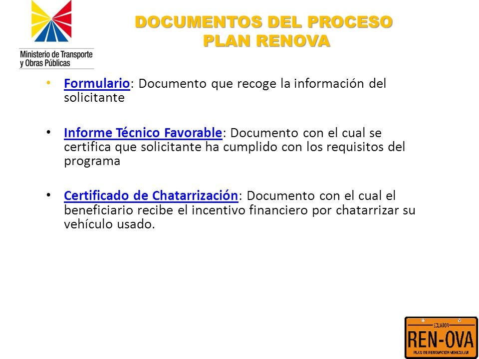 DOCUMENTOS DEL PROCESO PLAN RENOVA