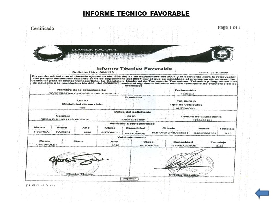 INFORME TECNICO FAVORABLE