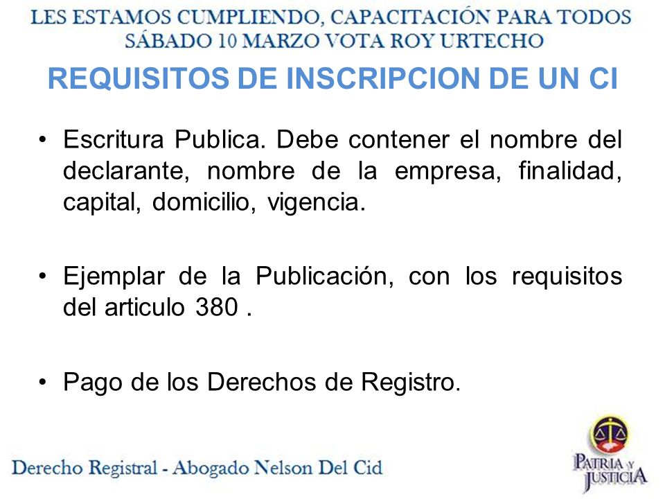 REQUISITOS DE INSCRIPCION DE UN CI