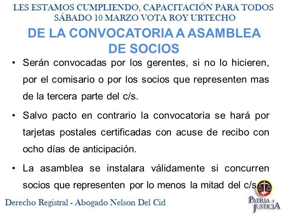 DE LA CONVOCATORIA A ASAMBLEA DE SOCIOS
