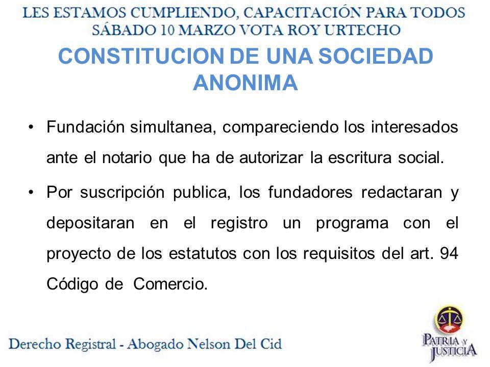 CONSTITUCION DE UNA SOCIEDAD ANONIMA