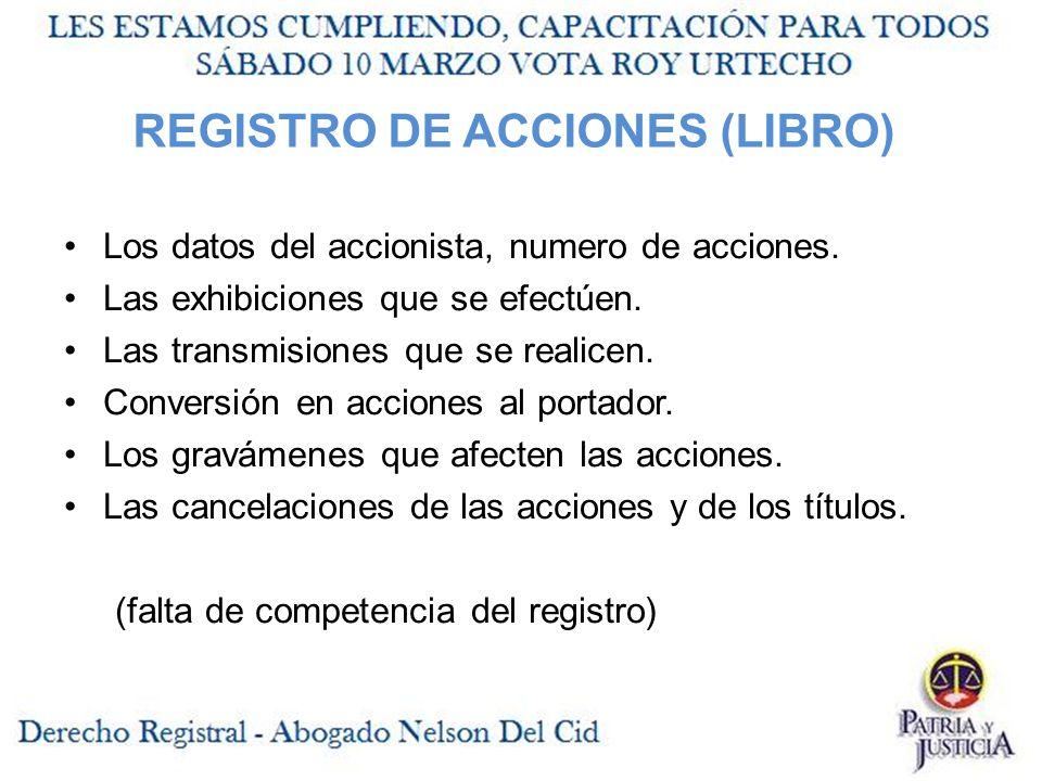 REGISTRO DE ACCIONES (LIBRO)