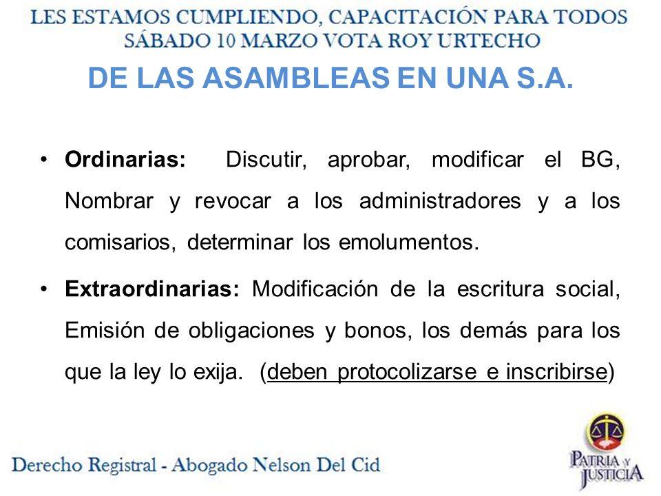 DE LAS ASAMBLEAS EN UNA S.A.