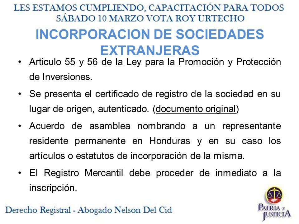 INCORPORACION DE SOCIEDADES EXTRANJERAS