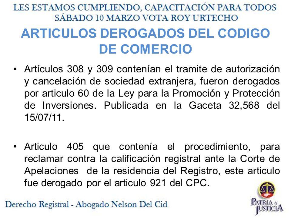ARTICULOS DEROGADOS DEL CODIGO DE COMERCIO