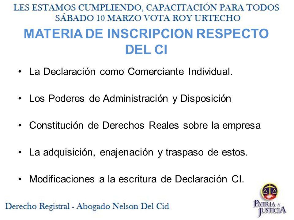 MATERIA DE INSCRIPCION RESPECTO DEL CI
