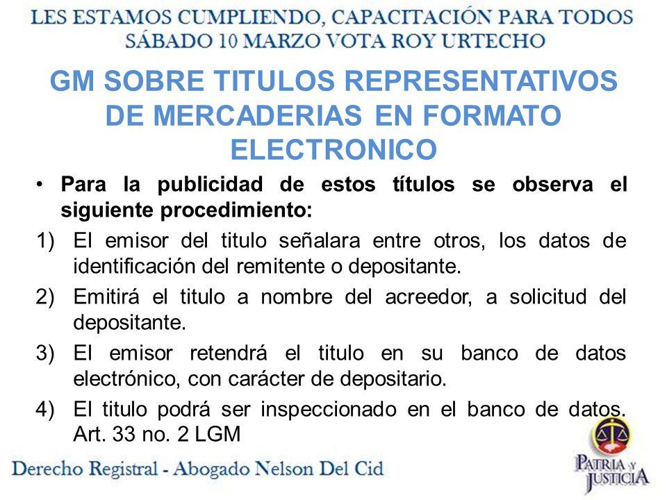GM SOBRE TITULOS REPRESENTATIVOS DE MERCADERIAS EN FORMATO ELECTRONICO
