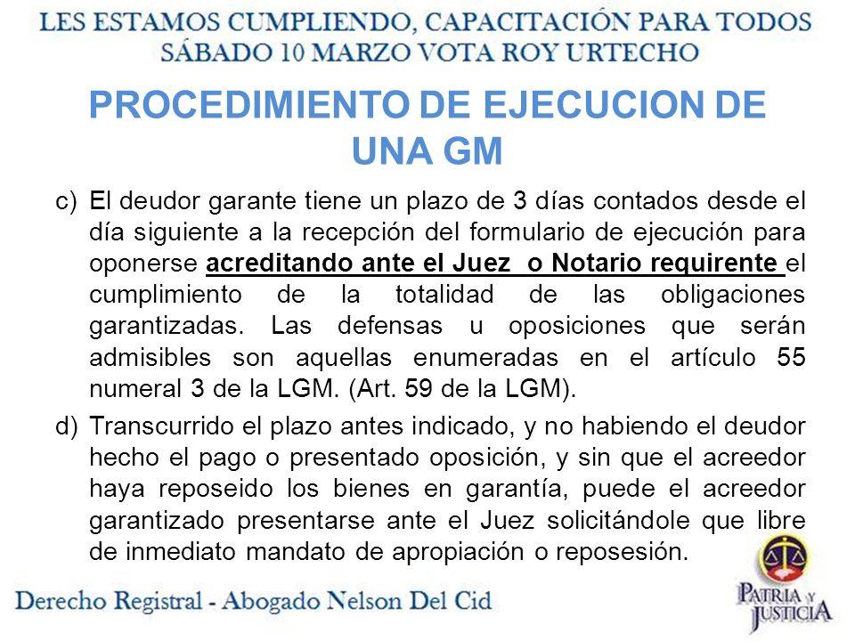 PROCEDIMIENTO DE EJECUCION DE UNA GM