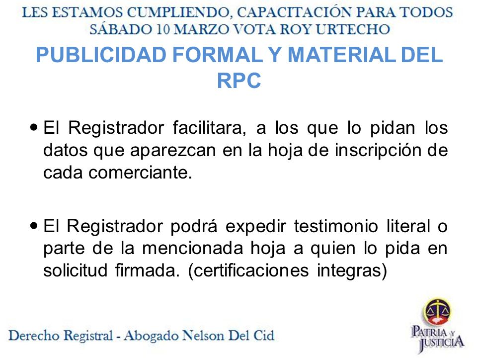 PUBLICIDAD FORMAL Y MATERIAL DEL RPC