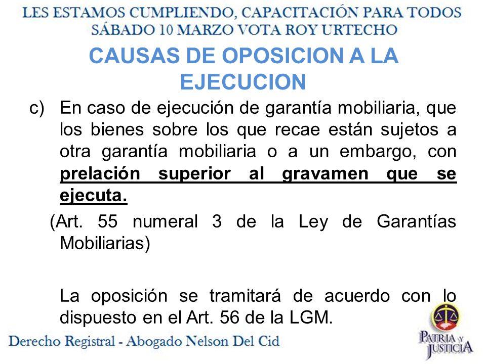CAUSAS DE OPOSICION A LA EJECUCION