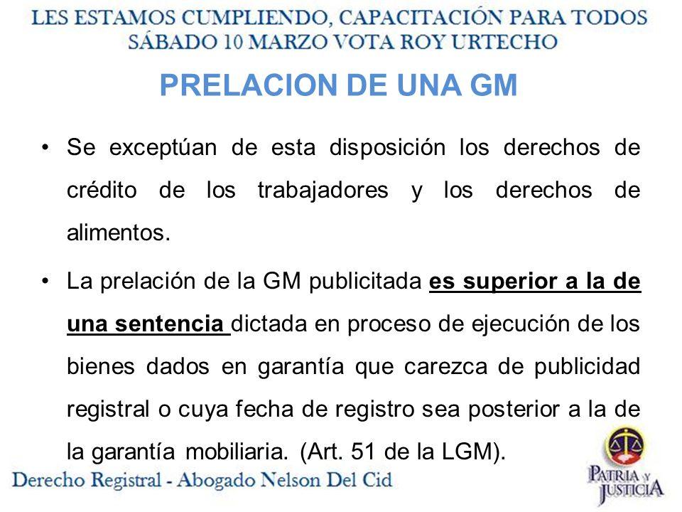 PRELACION DE UNA GM Se exceptúan de esta disposición los derechos de crédito de los trabajadores y los derechos de alimentos.